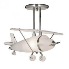 Lámpara techo infantil avioneta Novelty en plata satinada y cristal