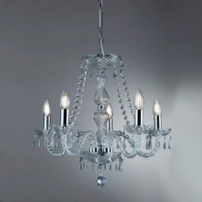 Lámpara chandelier Hale cinco luces cristal transparente