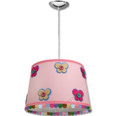 -Lámpara colgante infantil pantalla rosa flecos colores