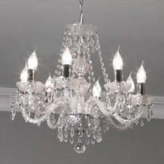 Lámpara techo chandelier Hale en cristal transparente con ocho brazos