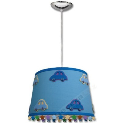 -Lámpara colgante infantil azul adornos coches estrellas