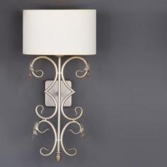 Aplique pared clásico Brote pequeño plata envejecida pantalla textil oval