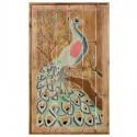 Retablo madera decoración pared Pavo Real colores con nácar