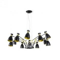 Lámpara techo Retro brazos articulados doce luces en negro y oro satinado