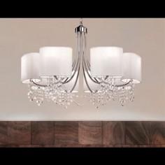 Lámpara techo Nina ocho luces en cromo con cristales y pantallas textiles