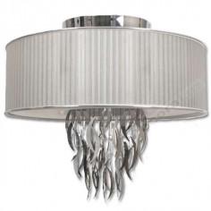 Lámpara colgante pantalla blanca colores plata hojas cromo