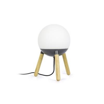 Lámpara mesa moderna mine bola cristal y gris patas madera natural