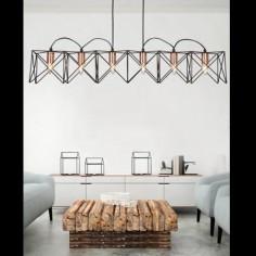 Lámpara techo moderna lineal Athnea seis luces en metal negro y cobre