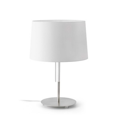 Lámpara de mesa volta en metal con pantalla textil blanca