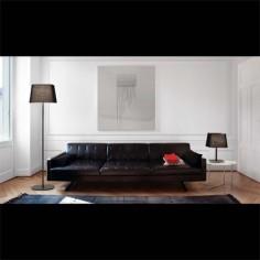 Lámpara de pie Sweet en metal negro con pantalla textil negra
