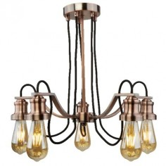 Lámpara techo Olivia cinco luces en metal cobre