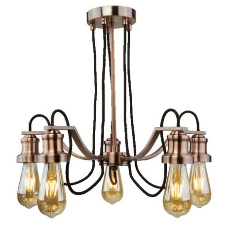 Comprar l mpara techo olivia cinco luces en metal cobre - Lamparas oliva ...