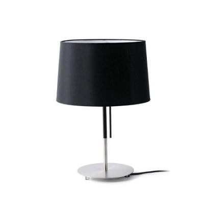 Lámpara sobremesa Volta en metal con pantalla textil negra