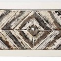 Consola para entrada madera blanca cajones estampados patas en acero