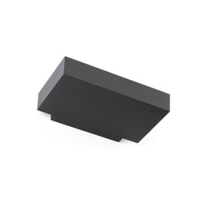 Aplique pared exterior Tore LED moderno rectangular en gris oscuro