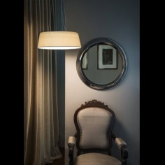 Lámpara de techo colgante Aina LED en textil blanco