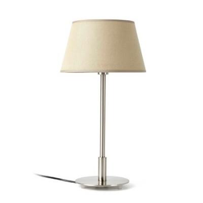 Lámpara mesa Mitic níquel mate pantalla textil beige