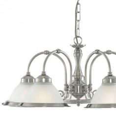 Lámpara clásica American Diner plata satinada y cristal translúcido