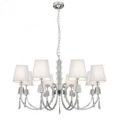 Lámpara techo clásica Portico ocho luces en cromo y cristal