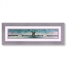 Cuadro pintura rectangular árbol en turquesa y gris con marco plata