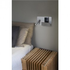 Aplique de pared Suau LED gris plata con cargador USB y estante