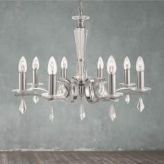 Lámpara Royale ocho luces en metal cromo y cristal