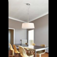 Lámpara colgante Hotel en metal con pantalla textil blanca