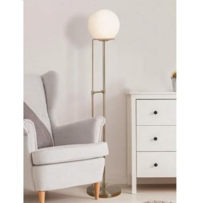 Lámpara de pie Sphere en cuero con pantalla esférica en cristal