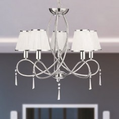 Lámpara clásica Simplicity cinco luces en cromo con pantallas en textil
