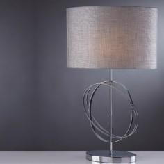 Lámpara sobremesa Coventry en cromo con pantalla textil gris