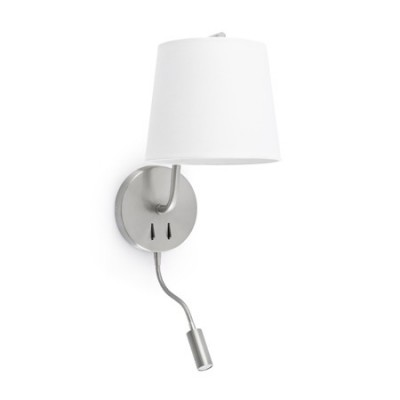Aplique de pared Berni níquel satinado pantalla blanca con lector LED
