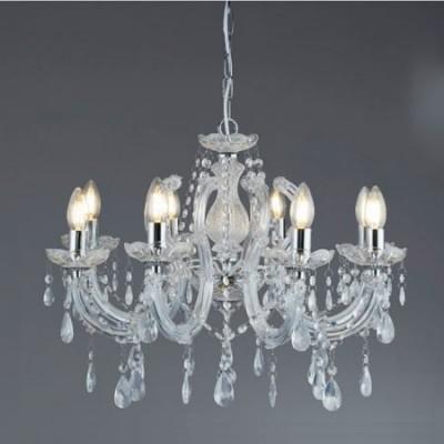 Lámpara chandelier Marie Therese ocho luces cristal transparente y cromo