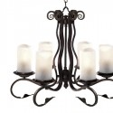 Lámpara techo rústica Scroll con seis luces en metal acabado negro óxido