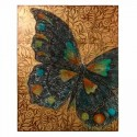 Retablo decoración pared mariposa multicolor en madera