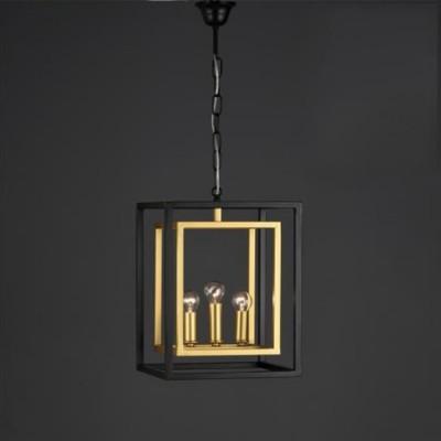 Lámpara colgante farol Caliope metal negro y oro con tres luces