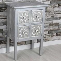 Mesita de noche plata y blanco cuatro cajones con tallados