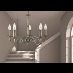 Lámpara techo clásica Richmond cuero envejecido con cinco luces