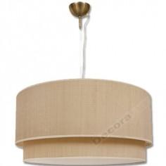 Lámpara colgante cuero doble pantalla grande color arena