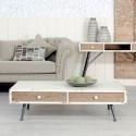Mesa centro blanco envejecido con dos cajones tallados en madera natural