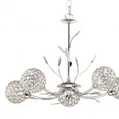 Lámpara techo Bellis II cinco luces en cromo y cristal tulipas esfera