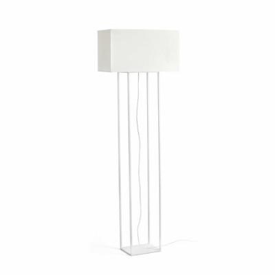 Lámpara pie de salón Vesper blanca en metal y textil