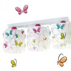 Lámpara techo juvenil Butterfly tres luces blanca con mariposas de colores