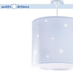 Colgante infantil Sweet Dreams azul con estrellas blancas