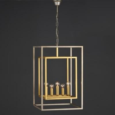 Lámpara colgante Caliope farol cinco luces en plata envejecida y oro