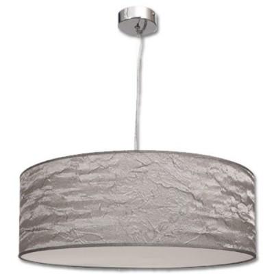 Lámpara colgante cromada pantalla plata texturizada
