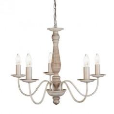 Lámpara clásica Sycamore cinco luces metal y madera marrón lavado