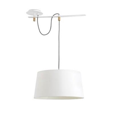 Lámpara techo colgante Fusta blanca en metal y textil con madera natural