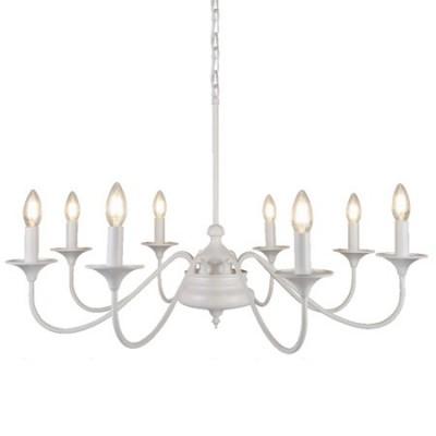 Lámpara clásica Elizabethan blanco mate ocho luces metal