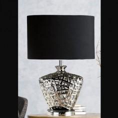 Lámpara de mesa Network en cromo con pantalla textil negra