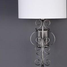 Lámpara de pared Alexia plata francesa pantalla textil blanca